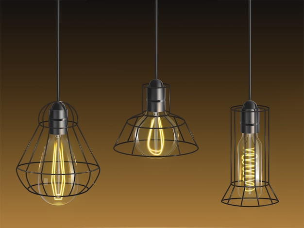 Different shape vintage, incandescent bulbs, retro lamps with heated wire filament