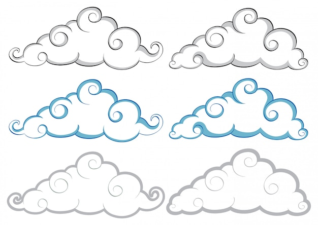 Different shapes of clouds on white background