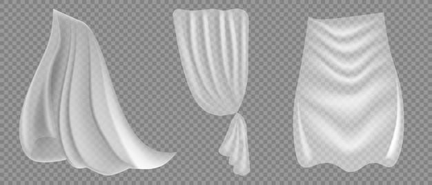 孤立したさまざまな形のカーテン
