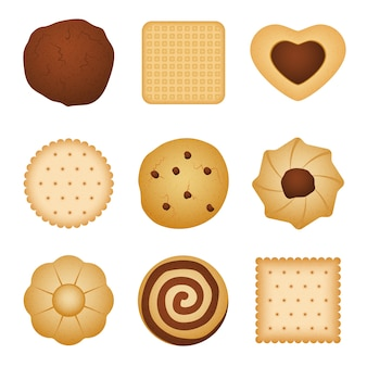 Different shapes of eating biscuit home made cookies