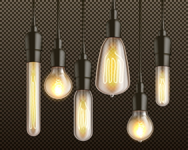 Different shapes and forms retro incandescent light bulbs with heated wire filament hanging from above in black lamp holders 3d realistic vector set isolated