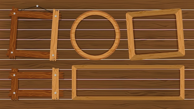 Different shapes of frames on wooden wall