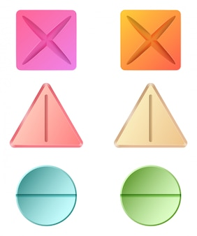 Different shapes of medicinal pills