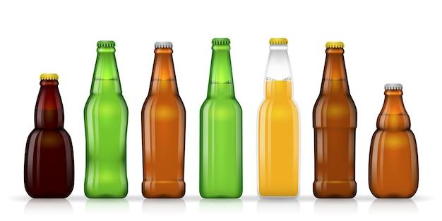 ビールやその他の飲料用のさまざまな形のビール瓶。図