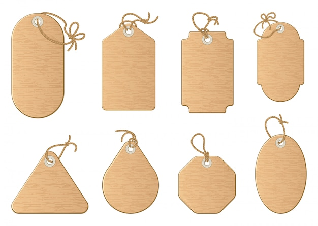 Different shapes of shopping sale tags isolated on white.