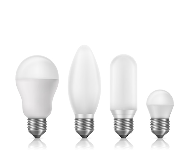 Diverse forme e dimensioni, lampadine fluorescenti o led con vetro opaco bianco e e27 base 3d set vettoriale realistico isolato. lampade ad alta efficienza e durata più lunga