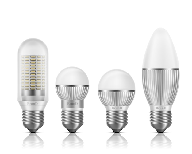 Different shapes and sizes led bulbs with heat sinks or fins, e27 base, screw-type socket 3d realistic vector set isolated