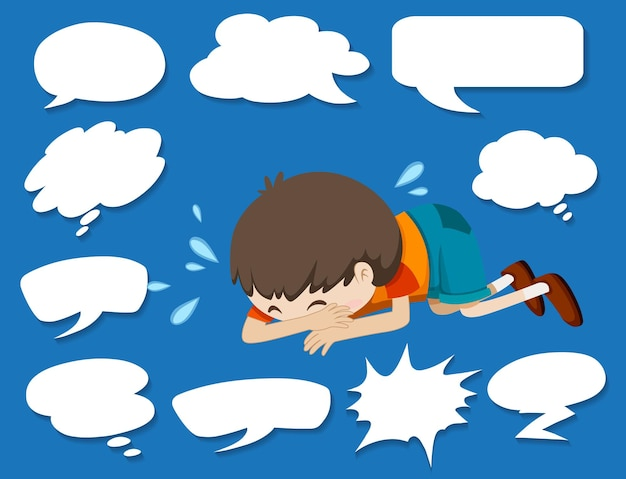 Different shapes of speech bubbles and crying boy