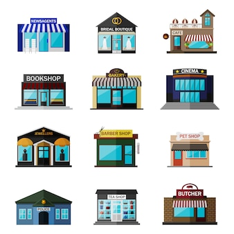 Different shops, buildings and stores flat icon set isolated on white. includes newsagents, bridal boutique, cafe, bookshop, bakery, cinema, jewellers, barber shop, pet shop, police, tea shop, butcher