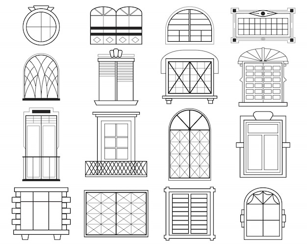 Different silhouettes of window frames flat set