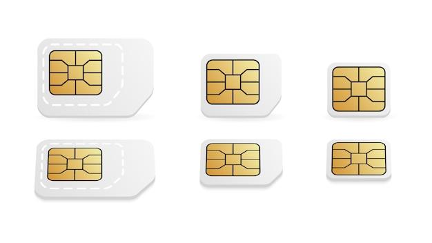 携帯電話用の異なるsimカードサイズ