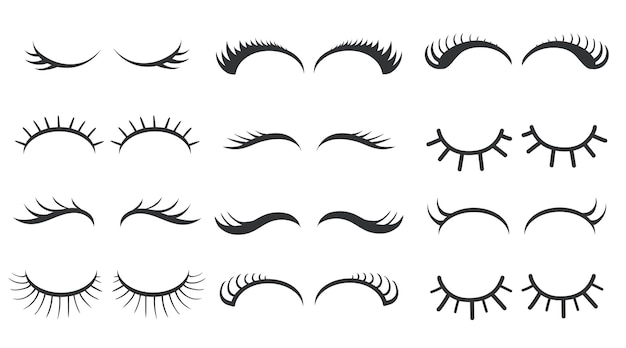 Different simple styles of eyelashes  illustration