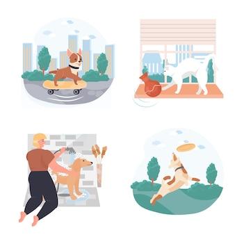 애완 동물 개념 장면의 삶의 다른 상황은 문자의 벡터 그림을 설정합니다.