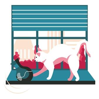 Различные ситуации в жизни концепции сцены домашних животных. непослушный кот роняет вазу с подоконника. уход за животными, игривые игры с домашними животными, занятия с людьми. векторная иллюстрация персонажей в плоском дизайне