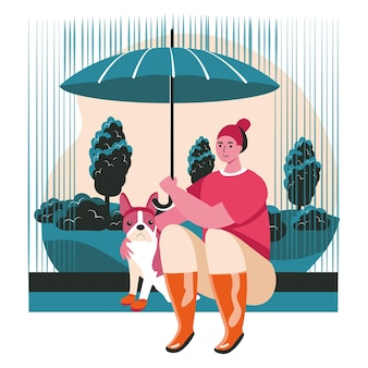 Различные ситуации в жизни концепции сцены домашних животных. женщина и собака сидят под зонтиком под дождем. прогулки на свежем воздухе, уход за домашними животными, занятия с людьми. векторная иллюстрация персонажей в плоском дизайне