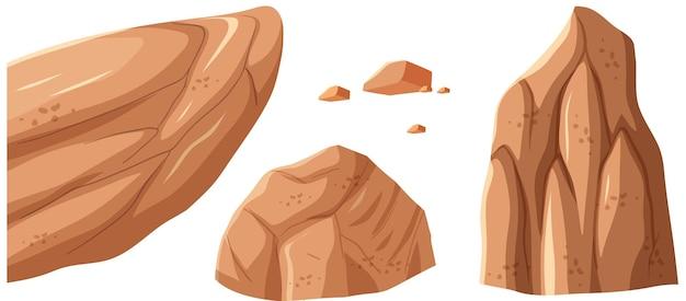 茶色の石の異なるサイズ
