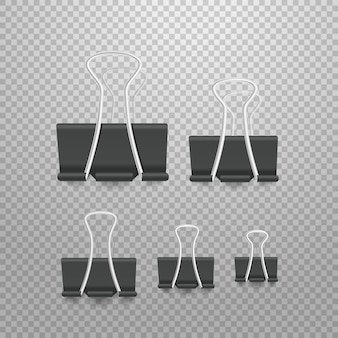 Different size paperclip office elements collection. pins isolated on transparent