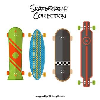 Diversi skateboard in design piatto