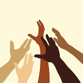 Different skin colors hand on beige background hand drawn flat vector illustration