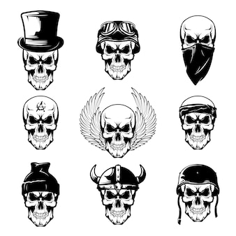 Different skull tattoo flat set