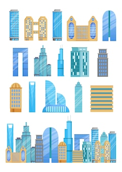 Набор иллюстраций различных небоскребов