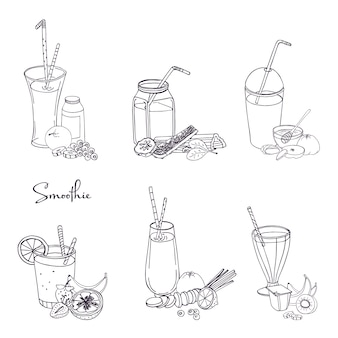 Different smoothie set. collection of various summer drinks with fruits, berries, vegetables. hand drawn illustration.