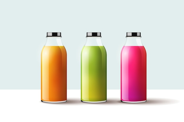 Different smoothies bottles collection