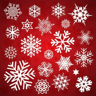Different snowflakes on a red background