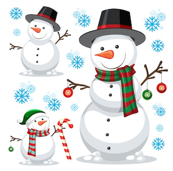 Different snowman on white template