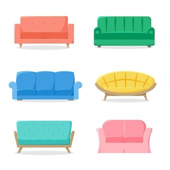 다른 소파는 평면 스타일 벡터 일러스트 레이 션에 소파 컬렉션 다채로운 가구를 설정
