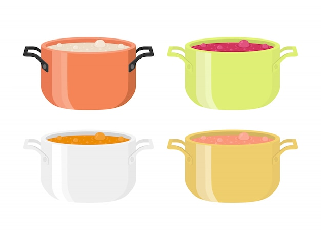 Different soups in pots.