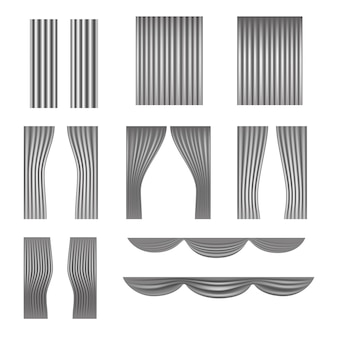 Different stage curtains vector collection