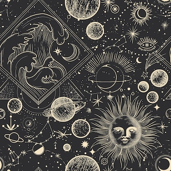 Различные этапы лунной активности в винтажном стиле гравюры бесшовные модели