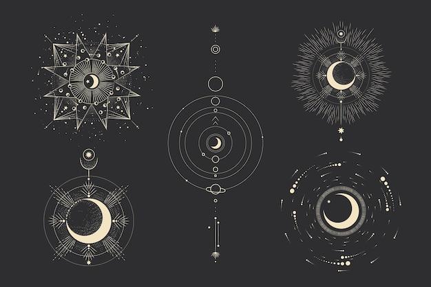 Различные этапы лунной активности в стиле винтажной гравюры
