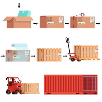 Различные этапы отправки товара от упаковки до перевозки в контейнере. транспортировка картонной коробки.