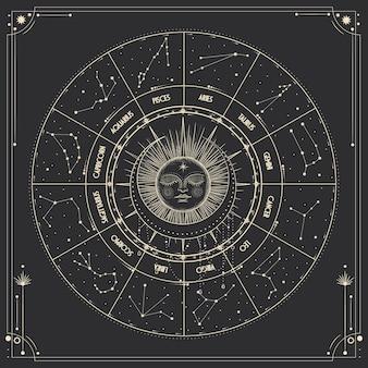 빈티지 조각 스타일의 별과 태양 활동의 여러 단계
