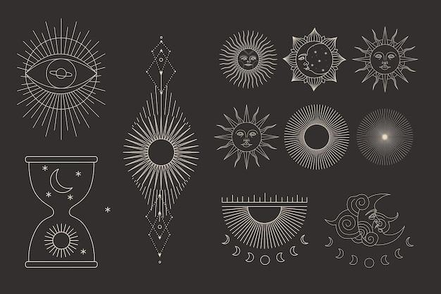 빈티지 조각 스타일의 다양한 태양 활동 단계