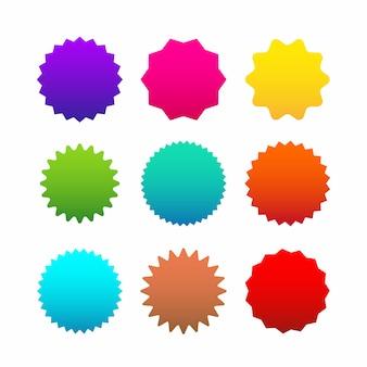 Different starburst, sunburst badges.