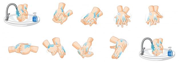 Различные шаги мытья рук на белом фоне