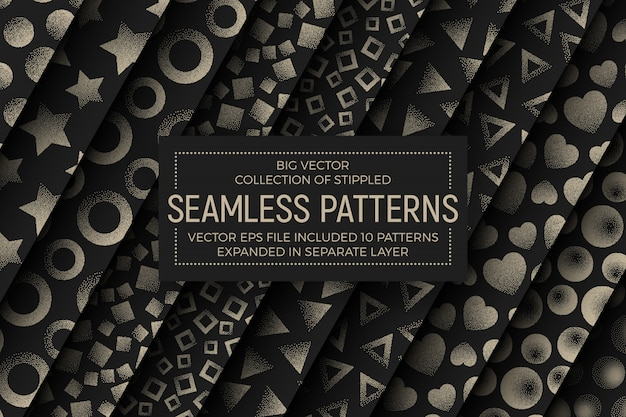 Different stippled abstract seamless patterns set
