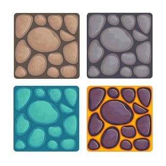 Различные текстуры камня для игры. иллюстрации шаржа. Premium векторы