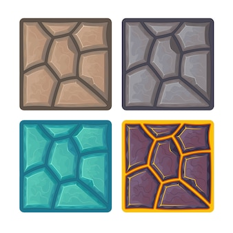Different stone textures for game. cartoon illustration.