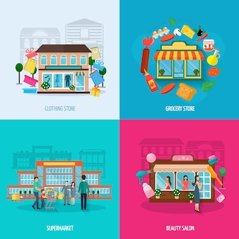 Different stores buildings such as clothing grocery beauty salons and supermarkets icons