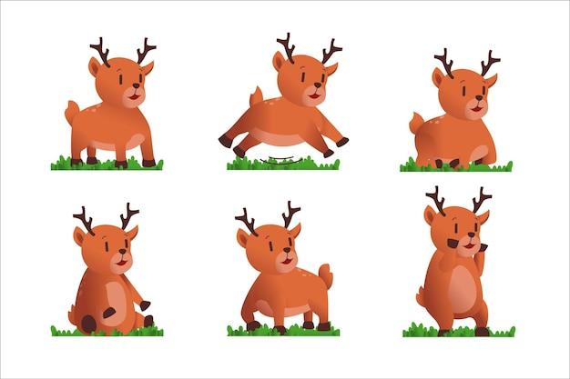 Stile diverso di cervo su un trasparente. oggetti isolati, illustrazione carina.