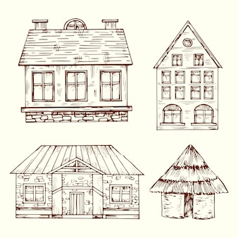 Different style hand drawn houses vector set