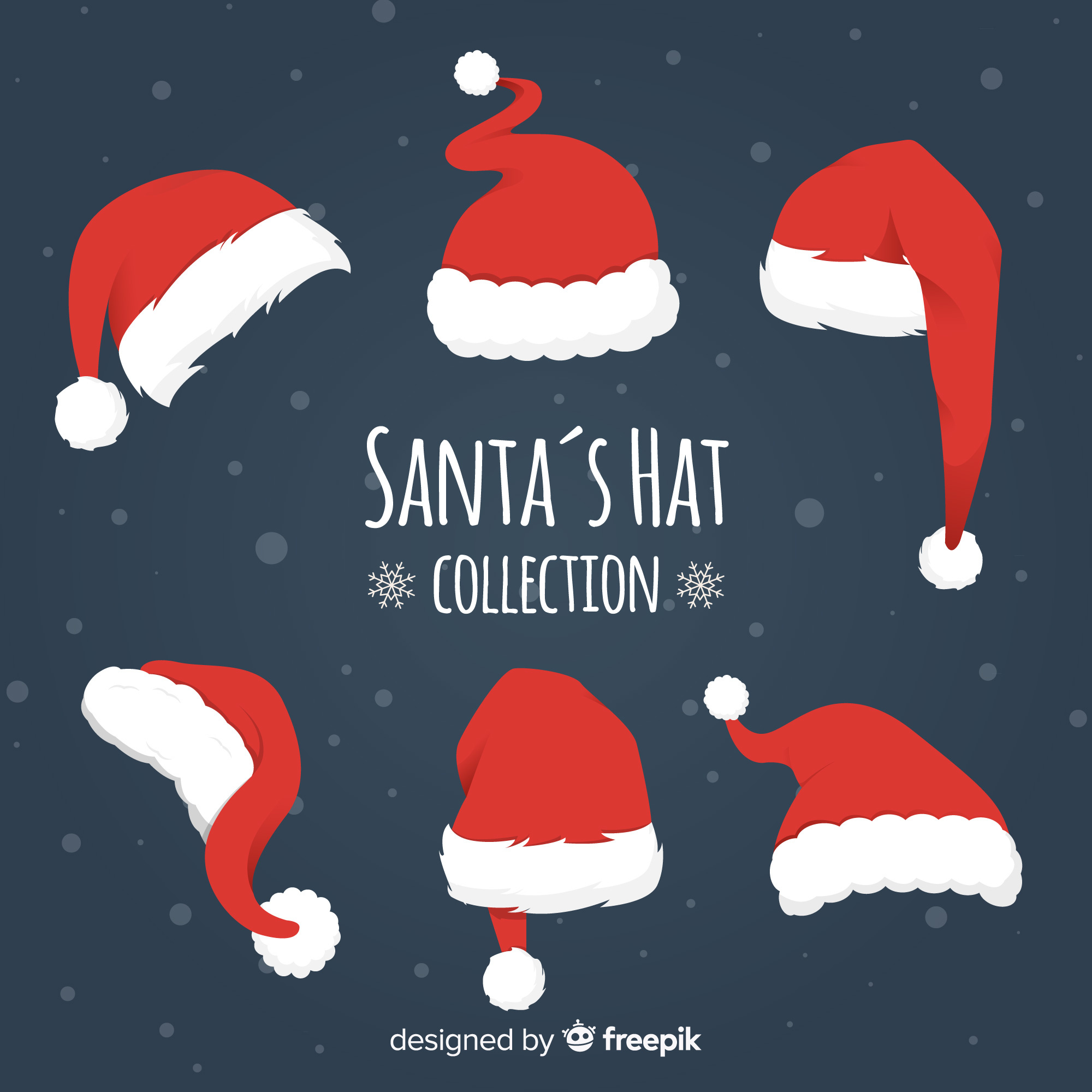 Different styles santa's hats pack
