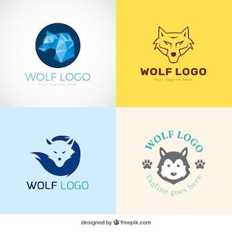 Different styles wolf logo collection