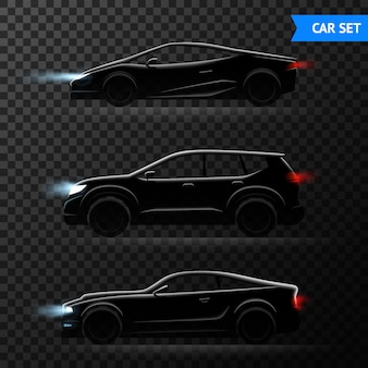 Different stylish models of cars vector illustration