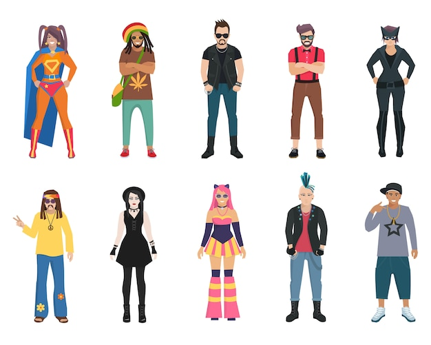Different subcultures trendy full length man and woman isolated Free Vector