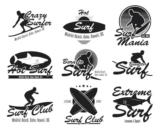 別のサーフィンクラブフラットエンブレムセット。黒のロゴまたはサーフボード、サーファー、サメ、波ベクトルイラストコレクションの標識。夏、旅行、ハワイ、そしてデザイン